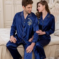 Wholesale- 2016 Men Silk Pajamas Long Sleeves Satin mens piga...