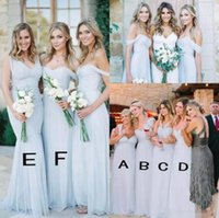 Beach Bridesmaid Dresses 2018 Ice Blue Chiffon Ruched Off Th...