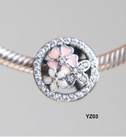 925 Sterling Silver BEAD charm with Clear CZ Unique FLOWER G...