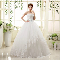 Strapless Lace Tulle Ball Gown Wedding Dress 2016 Appliqued ...