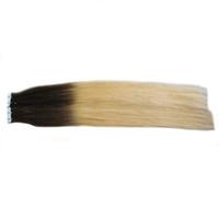 머리카락 확장에 인간의 머리카락을 확장 blonder ombre 테이프 인간의 100g 40pcs T1B / 613 금발의 처녀 머리 두 톤의 rey ombre 인간의 머리카락 확장 회색