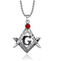 Mason Masonik Sembolü Kırmızı Taş Kolye Nencklac Retro Yakut Kolye Metal Kolye Charm Kolye Kolye Takı DHL