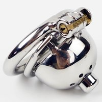anel cravado Anti off Curto Chastity Gaiola com New Lock e removível Dispositivo Uretral Som Aço Locking Chastity por Homens