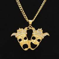 Chapado en oro de acero inoxidable payaso colgante collar doble corona cabeza riendo y llorando encanto moda regalo película joyería
