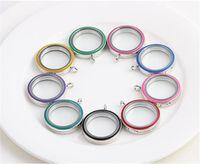 Wasserdichte mischte 9colors 30 * 30mm Edelstahl-Rosa-Magnetverschluss Schwimmende lebende Medaillons DIY HD Glassilber runder Medaillon