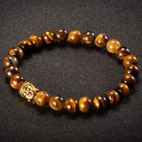 Braccialetti di Buddha per perline di pietra naturale 8mm per donne e uomini oro / argento buddha tigre occhio pulseras mujer a buon mercato Promozione