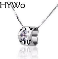 HYWo Chainless Anhänger 925 Sterling Silber Neue Ankunft Halskette Dame Clear CZ Anhänger Schmuck Großhandel + True Love / Valentines Geschenk