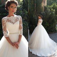 Lace Millanova Vintage 2020 Um casamento linha de vestidos de Bateau mangas meia Pérolas Tulle vestido de baile Vestidos de casamento Vestidos de noiva