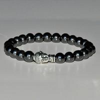 Bracciale Mala Ematite, braccialetto buddha, braccialetto chakra della radice, meditazione mala da polso, braccialetto yoga, braccialetto di guarigione della pietra preziosa