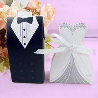 Mariée et le marié boîte de bonbons boîte de mariage boîte de mariage boîtes de faveur avec ruban 2pcs / lot + DHL livraison gratuite