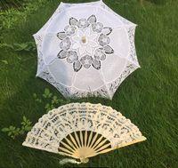 Cotton Lace Fans Sonnenschirme Braut Hochzeit Sonnenschirm Fans Handmade Handwerk Regenschirm Durchmesser 60 cm Baumwolle Spitze Hochzeit Gunst Dekoration