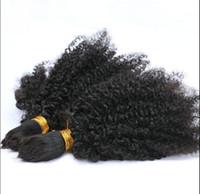 Brasiliansk Human Virgin Remy Kinky Curly Hair Bulk Braiding Hair Extensions Obehandlade Curly Natural Black Färg Human Extensions