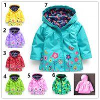 Baby Kinder Mädchen Blume Regenmantel 7 Farbe frei Kinder Mode Baby Mädchen Kleidung Wintermantel Blume Regenmantel Jacke für winddicht Outwear
