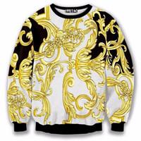 الجملة-جديد أزياء فاخرة الذهب زهرة هوديس 2016 الخريف والشتاء الرجال الكلاسيكية البلوز 3d عارضة البلوز هوديس الرياضية