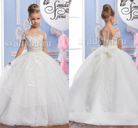 Nuovo pizzo puro collo in tulle in tulle stile arabo ragazza abiti abiti vintage ragazza tutu con pageant abiti formale fiore ragazza abiti per matrimonio