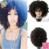 150 плотности афро странные кудрявые человеческие волосы шнурок передних париков с полными челками бразильцы человеческие волосы полные кружевные парики с волосами младенца