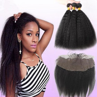 9A Mongolian Kinky Straight Hair Bundles With Lace Frontal F...