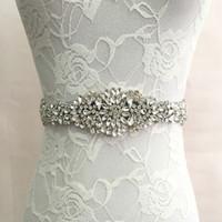 Frisado Cristal Long Bridal Sash 2019 White Handmade Cetim Casamento Nupcial Cinto New Sashes Transporte Rápido