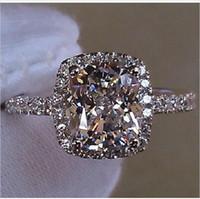 Lady S925 Gümüş Diamonique Beyaz Safir CZ Kristal Taş Alyans Tasarımcı-ilham ABD Boyutu 5,6,7,8,9,10