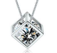 925 Sterling Silber Halskette S925 Kristall Schmuck Quadrat Liebes Würfel Diamant Anhänger Aussage Halsketten Hochzeit Vintage Frau Mode