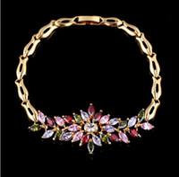Luxus glänzende Brautparty Zirkon Eis Blumen Armbänder Armbänder Geschenke für Liebhaber