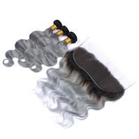 버진 페루 옹 브르 인간의 머리카락 3Bundles 13x4 레이스 정면 바디 웨이브 1B / 회색 2 톤 인간의 머리카락 앞면과 실버 그레이