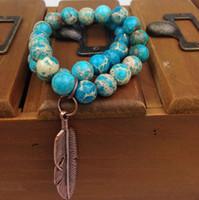 ST0188 10 мм стрейч реальный синий Регалит браслет с медным пером подвески императорский яшма бусины браслет