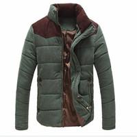 Осень-Осень Зима новая мода мужские случайные теплое пальто куртка тепловой ватные сращивания куртка утолщение хлопок-ватник пальто плюс размер