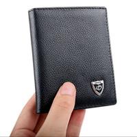 Mężczyźni Leather Bifold ID Posiadacz karty kredytowej Mini Portfel Cienka Portfel Billfold Moda