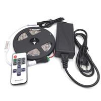 50m Non-Waterproof SMD5050 LED-band Ljus DC 12V 60 LED / M + DC-kontakt + 11 Keys RF Controller + 12V 5A Strömförsörjningsadapter DHL Free