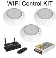 IP68 WIFI RGB LED حمام سباحة الضوء مصباح تحت الماء PISCINAS 18W 24W 35W 42W 12V DMX512 / 2.4G RF التبديل حدة تحكم عن بعد + محول الطاقة