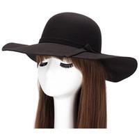 Wholesale- 2020 새로운 세련된 빈티지 여성의 \ '의 아가씨 와이드 브림 양모 woman fedora 모자 플로피 cloche 해변 bowknot 모자