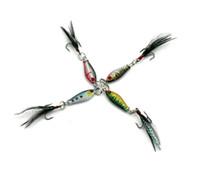 HENGJIA 50pcs / lot Kurşun yem metal Bait tüy kanca 6.4 g 4 renk olta 6g 8 cm renkli Balıkçılık lures Crappies