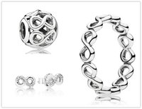 Pendientes de plata de ley 925 y encantos de la joyería Conjuntos de colgante con caja adapta a las pulseras de la joyería europea Collares - Set de brillo infinito