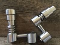 Universal Domeless Titanium Nail 4 IN 1 14mm 18mm Double Fonction GR2 Cire Huile Narguilé Tuyaux D'eau Bong Cendre Dab Rigs