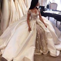 Vestido de fiesta de lujo Vestidos de novia 2017 Arabia Saudita manga de encaje apliques de satén Overskirt Vestidos de novia vestidos de novia de Dubai hechos a medida