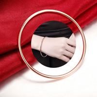 3 MM brazalete de anillo único brazalete de joyería chapado en oro rosa simple moda círculo liso marca de moda de los hombres de joyería de superficie brazalete delgado