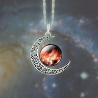 Starry Moon Outer Space Chain Crescent Necklace Silver Gemst...