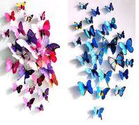 Cinderela borboleta 3d borboleta decoração adesivos de parede 12 pc 3d borboletas 3d borboleta pvc removível adesivos de parede butterflys em estoque