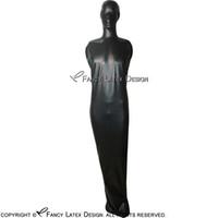 Schwarze sexy Latex-Schlafsack-Kostüme mit Kapuze und Reißverschluss an Rückengummi-Body Bag Bodybag Catsuit Plus Größe 0045