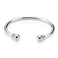 Yeni varış 925 Ayar Gümüş manşet bileklik Tork Düz Bileklik Bileklik Kadınlar için Açık Boyutu bilezik bilezik Ücretsiz Kargo