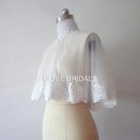 Envoltório nupcial de alta qualidade pescoço com laço applique real foto branco marfim jaqueta de casamento bolero xale coberto botões de tamanho único