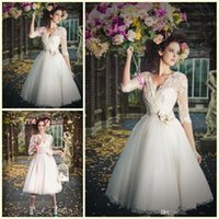 Vintage Wedding Dresses Lace Appliqued Sexy V Neck Handmade ...