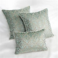 BZ194 Luxury green Chinese cut velvet fabric Cushion Cover P...