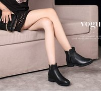 Short spring Martin boots female British style Genuine Leath...