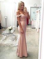 Neue Blush Pink Günstige Brautjungfernkleider Sexy Meerjungfrau Lace Lange 2021 Formale Hochzeitsgruppe Kleider / Abend Party Kleider