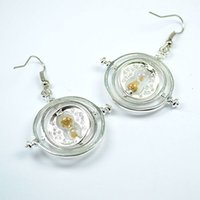 armillary sphere earrings Time travel machine Three movable ...