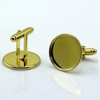 BeadSnice Brass manchetknoop instelling in verguld met helder glasinzetstuk 20mm bezel instellen Manchetknoop onderdelen ID 8898