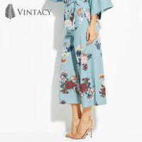 Vintacy plus size 녹색 여성 바지 꽃 느슨한 바닥 넓은 다리 휴가 사무실 바지 여성 여자 패션 OL 여성 바지