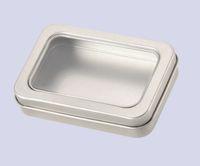 Caja de metal rectangular de 10 piezas con empaque de metal de ventana completa Caja de regalo transparente 90x60x18MM 3.54x2.36x0.71 pulgada lata rectángulo